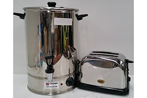 Crown 20 Litre Stainless Steel Hot Water Urn and Ronson Stainless Steel Toaster