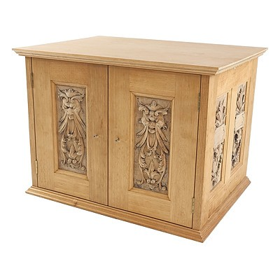 Antique Style Ash Small Cabinet with Carved Relief Panels, Late 20th Century