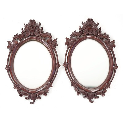Pair of Dutch-Indonesian Carved Teak Mirrors, Late 20th Century