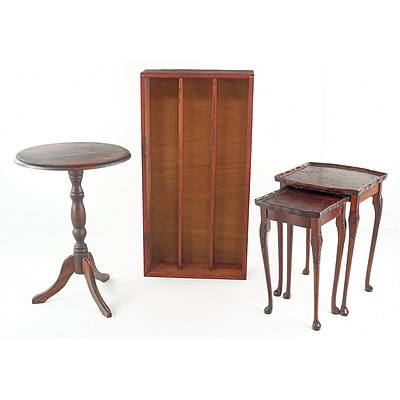 Stained Timber Tripod Table, Pair of Nesting Tables and Timber Shelf