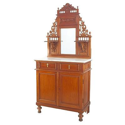 Dutch East Indies Carved Teak and Marble Topped Credenza