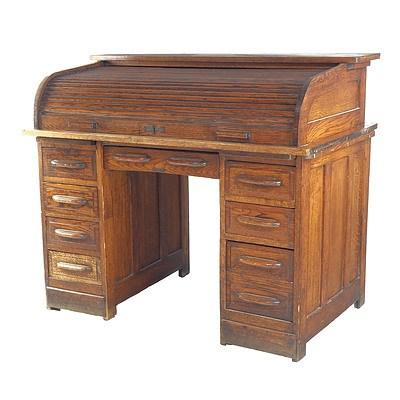 Antique Oak Double Pedestal Roll-Top Desk