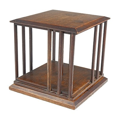 Small Antique Oak Revolving Bookcase for Desk or Table Top