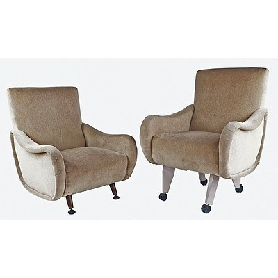 "Pair of Vintage Marco Zanuso ""Lady Chairs"", Legs Replaced"