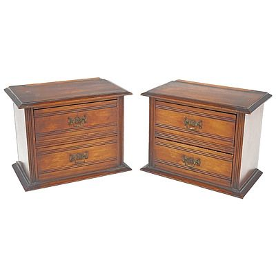 Pair of Edwardian Walnut Drawer Units as Removed From a Dressing Table