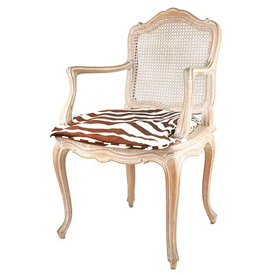 French Style Carved and Limed Wood Caned Armchair, 20th Century