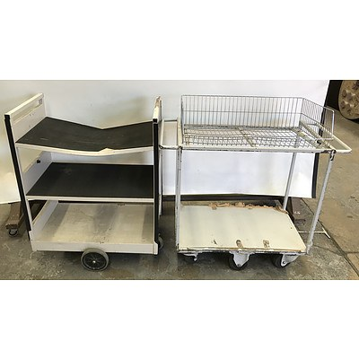 Library Trolleys -Lot Of Two