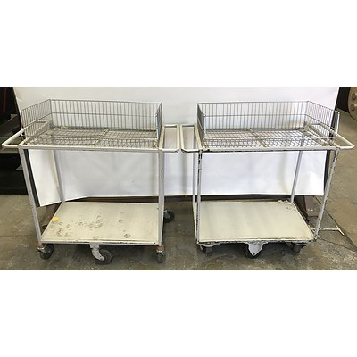 Two Tier Library Trolleys -Lot Of Two