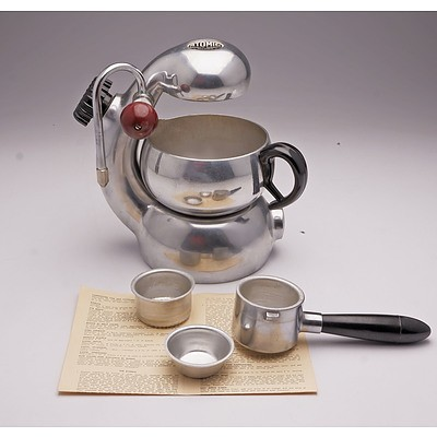 Vintage Atomic Espresso Machine, Jug and Filters by Brevetti Robbiarti Italy, Retailed by Bon Trading