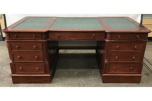 Large Reproduction Cedar Twin Pedestal Partners desk