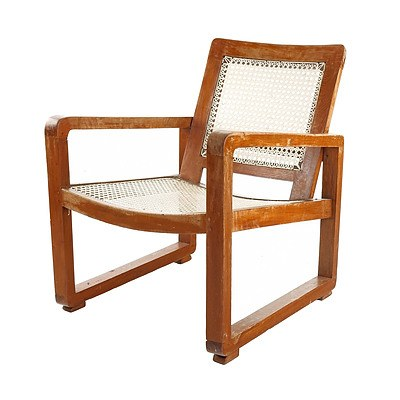 Sri Lankan Modernist Caned Armchair, Terry Jonklaas Commission Circa 1948 (in the Style of Pierre Jeanneret)