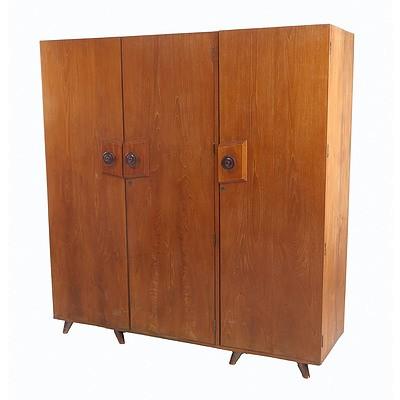 Sri Lankan Modernist Three Door Wardrobe, Terry Jonklaas Commission Circa 1948