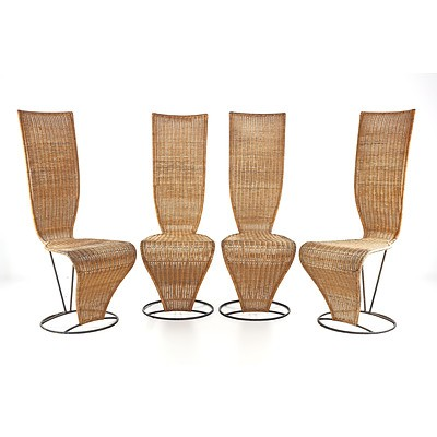 Four Modernist Wicker and Iron Framed High Backed Chairs
