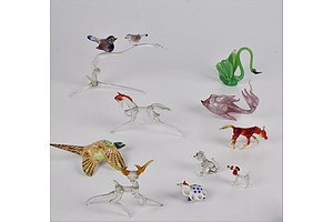 Collection of Hand Blown Glass Animals