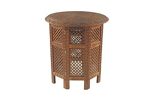 Good Indian Finely Carved and Pierced Sandalwood Folding Table