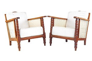 Pair Antique Sri Lankan/Dutch East Indies Caned Armchairs