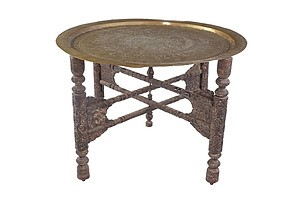 Antique Indian Brass Tray-Top Table with Carved Folding Base Circa 1900
