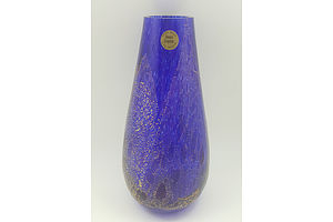 Cobalt Blue and Gold Highlight Art Glass Crystal Vase by G.Delewu for Oasis Crystal