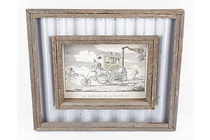 Rustic Wood and Corrugated Galvanised Tin Wall Hanging Inset with an Early Lithograph