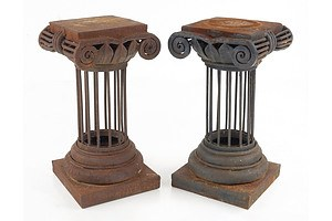 Pair of Steel Garden Pedestals