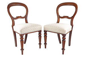 Six Antique Style Balloon Back Dining Chairs
