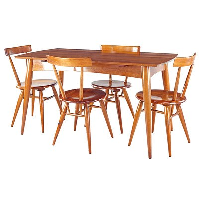 Fred LOWEN (1919-2005) Dining Table and Four DC Chairs Designed 1948, Fabricated 1950 by Fler