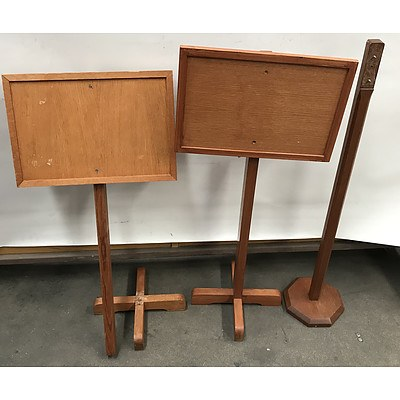 1960's Notice Board Stands -Lot Of Three