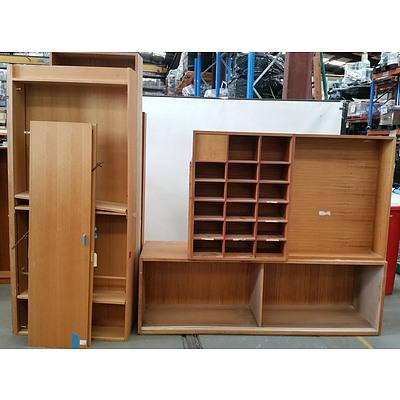 Three Bookshelves, Credenza and Pigeon Hole Unit