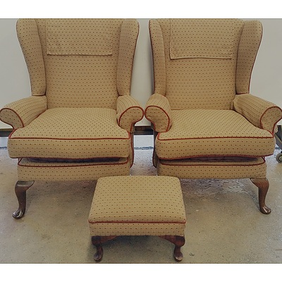 Pair Of Parker-Knoll Wing Back Armchairs and a Footstool