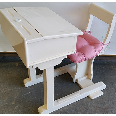 Old School Desk With Attached Chair