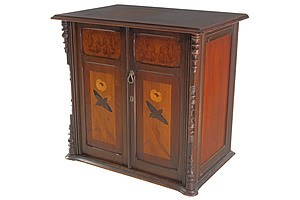 Fabulous Art Nouveau Marquetry Inlaid Sewing Machine Cabinet Circa 1905