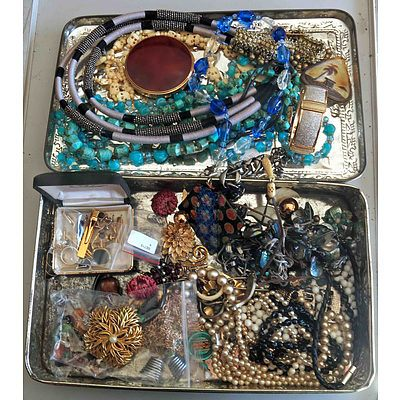 Collection Of Vintage and Modern Jewellery in Vintage Pressed Metal Box