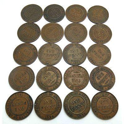 Australia: Geo V (1911-1936) Pennies X 20 In Coin Sheet