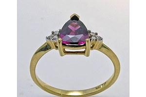 10ct Gold Rhodolite Garnet & Diamond Ring