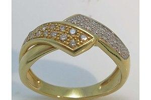 18Ct Gold Cognac & White Diamond Ring