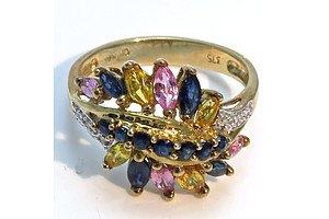 9ct Gold Multi-Colour Sapphire & Diamond Ring
