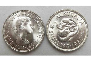 Australia: Uncirculated Silver Shillings 1962 (X2 Coins)
