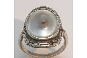 Sterling Silver Blister Pearl Ring