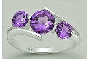 Sterling Silver 3 Stone Natural Amethyst Ring