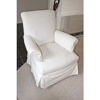 Edwardian Armchair with Later Cotton Slip Cover