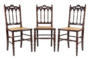 Three Gothic Revival Side Chairs with Cane Seats, Late 19th Century
