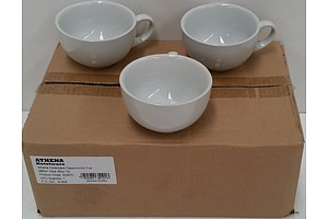 Athena Hotel Ware Commercial 285ml Ceramic Cappuccino Cups - Lot of 130 - Brand New