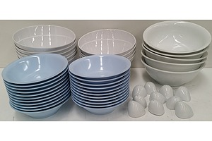 Commercial Plates, Bowls and Salt/Pepper Shakers - Lot of 107 - New