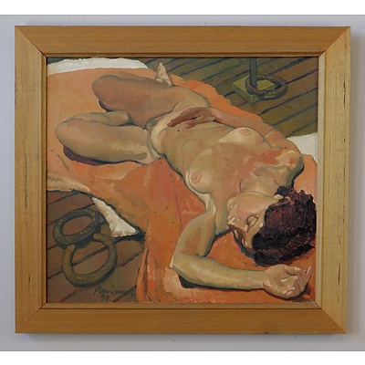 Original Oil on Canvas Reclining Nude in Timber Frame Signed Indistinctly and Dated 92 Lower Left