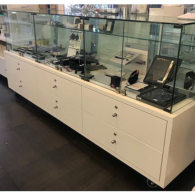 Mobile Six Drawer Three Glass Cube Floor Display Unit
