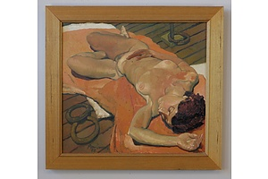 Original Oil on Canvas Reclining Nude in Timber Frame Signed and Dated Indistinctly Lower Left