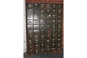 Very Large Industrial Sixty-Drawer Metal Storage Unit