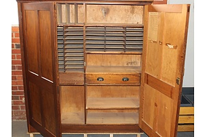 Large Oregon Circa 1950s Government Office Document Cabinet with Pigeon Holes and Fitted Interior