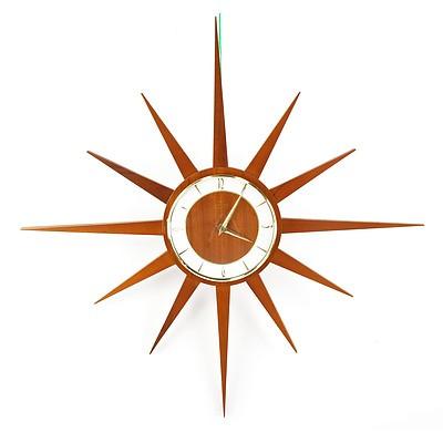 Junghans Teak and Brass Starburst Clock 1960s
