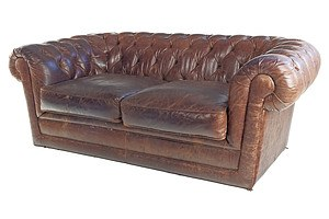 Tan Leather Deep Buttoned Chesterfield Sofa